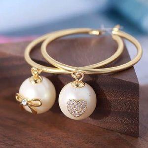 ❗️LAST ONE❗️♠️Kate Spade♠️ Pearl Hoop Earrings